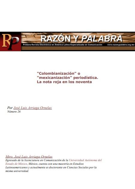"""""""Colombianización"""" o """"mexicanización"""" periodística. La nota roja en los noventa"""