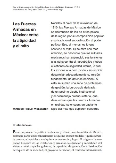 Las Fuerzas Armadas en México: entre la atipicidad y el mito