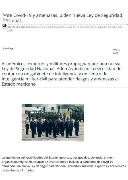 Ante Covid-19 y amenazas, piden nueva Ley de Seguridad Nacional