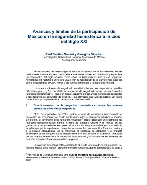 Avances y límites de la participación de México en la seguridad hemisférica en el siglo XXI