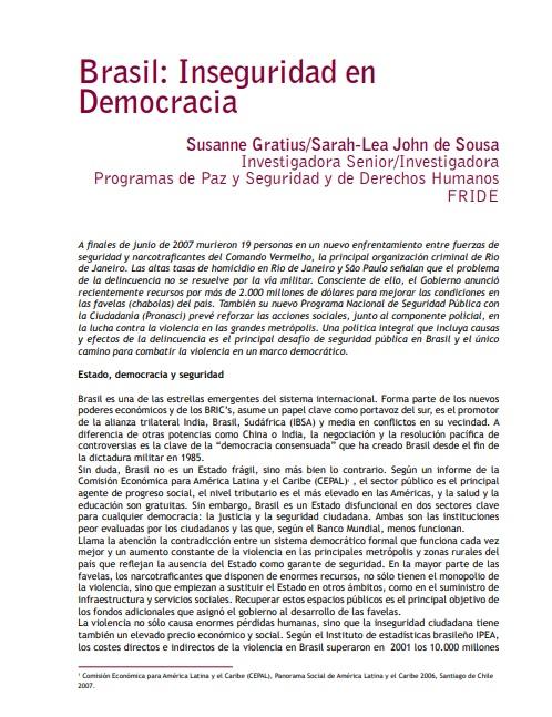 Brasil: Inseguridad en Democracia