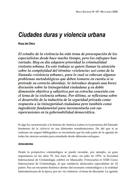 Ciudades duras y violencia urbana