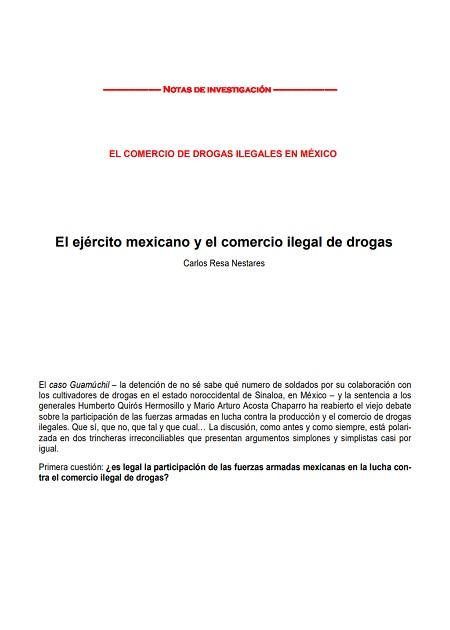 El ejército mexicano y el comercio ilegal de drogas