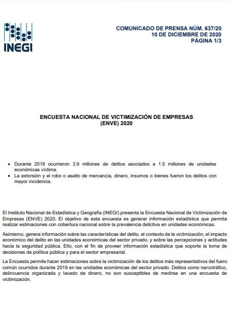 Encuesta nacional de victimización de empresas (ENVE) 2020