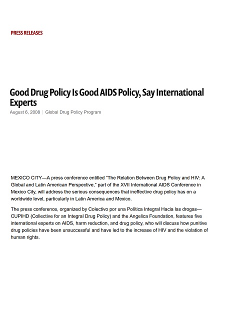 Good Drug Policy Is Good AIDS Policy, Say International Experts