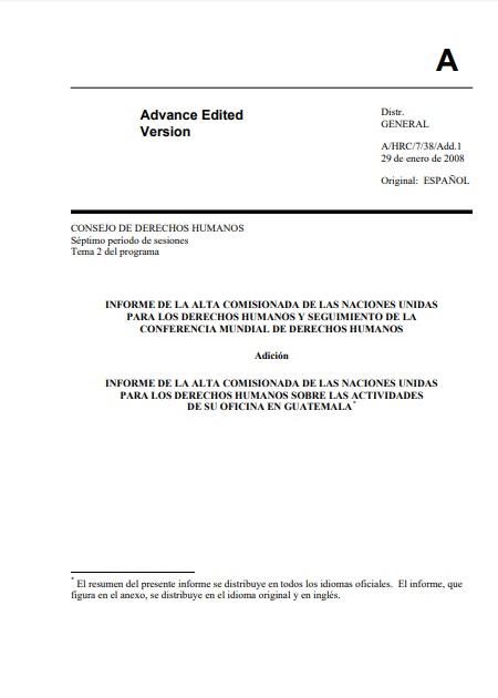 Informe de la Alta Comisionada de NU para Derechos Humanos sobre las actividades de su oficina en Guatemala