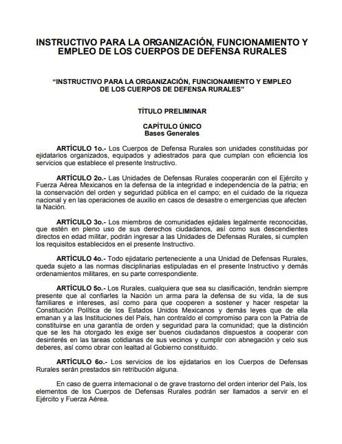 Instructivo para la organización, funcionamiento y empleo de los Cuerpos de Defensa Rurales