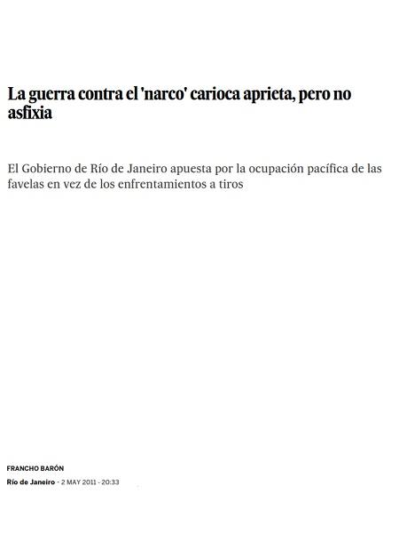 La guerra contra el 'narco' carioca aprieta, pero no asfixia