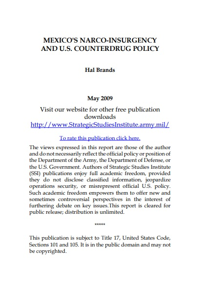 Mexico's Narco-Insurgency and U.S. Counterdrug Policy