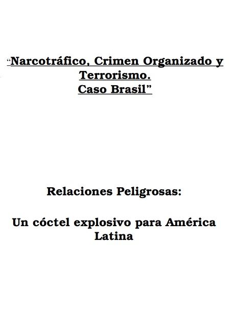 Narcotráfico, Crimen Organizado y Terrorismo: caso Brasil