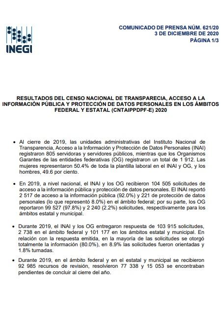 Resultados del censo nacional de transparencia, acceso a la información pública y protección de datos personales en los ámbitos federal y estatal (CNTAIPPDPF-E) 2020