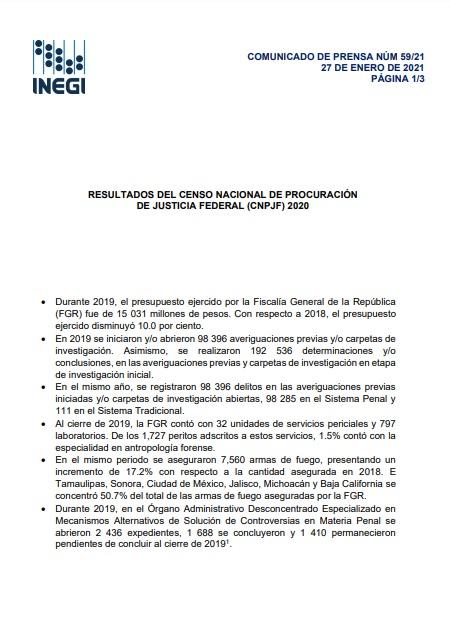 Resultados del Censo Nacional de Procuración de Justicia Federal (CNPJF) 2020