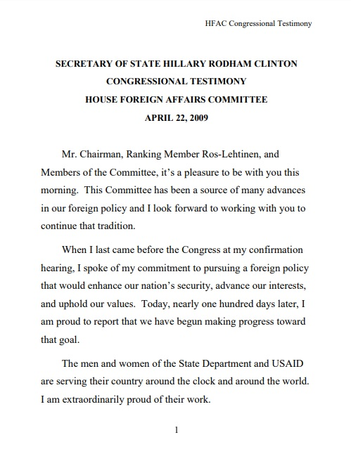 Secretary of Stat Hillary Rodham Clinton Congressional Testimony House Foreign Affairs Committee