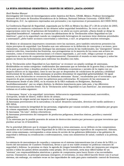La nueva seguridad hemisférica: después de México ¿Hacia dónde?