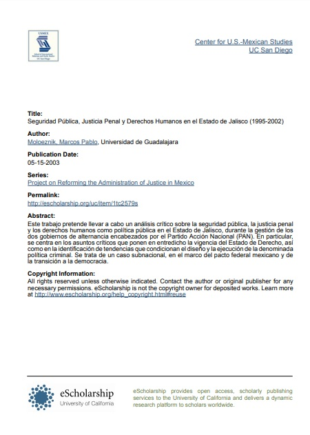 Seguridad Pública, Justicia Penal y Derechos Humanos en el Estado de Jalisco (1995-2002)