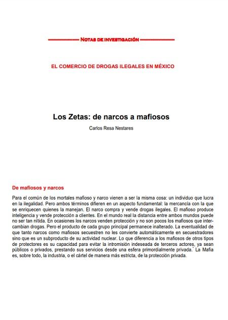 Los Zetas: de narcos a mafiosos