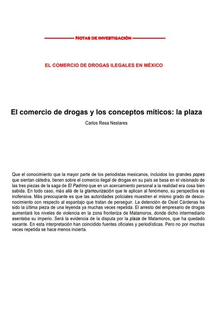 El comercio de drogas y los conceptos míticos: la plaza